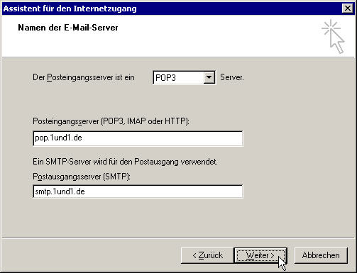 POP3- und SMTP-Server